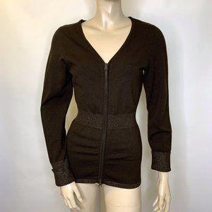 Cache Cardigan Knit Brown Gold Zipper M